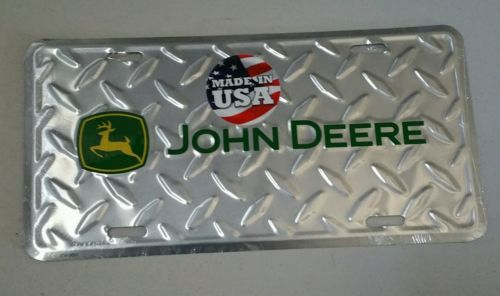 JOHN DEERE METAL ALUMINUM EMBOSSED LICENSE PLATE DIAMOND TAG SIGN MADE IN USA