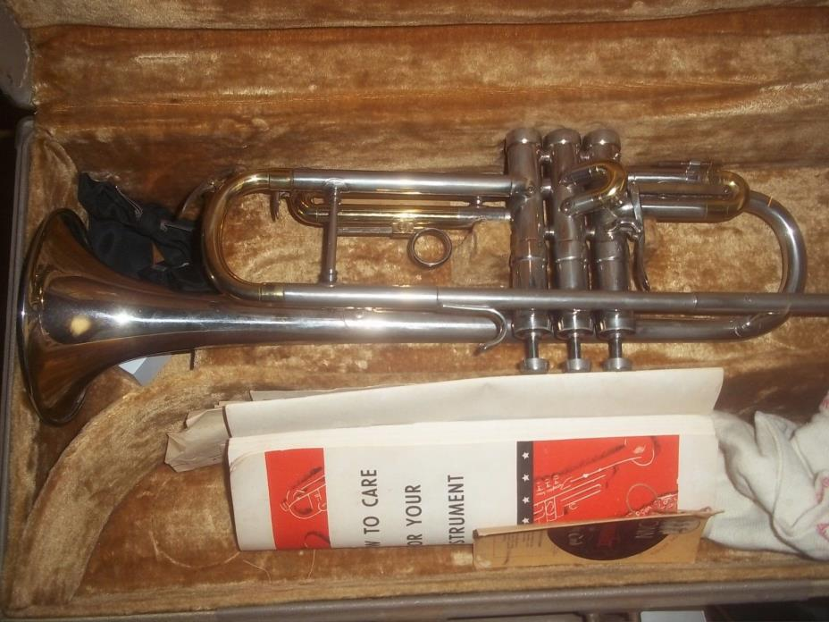 Elkhart Conn 38B Connstellation 1956 Trumpet with Case, Mouthpiece Silver/Brass