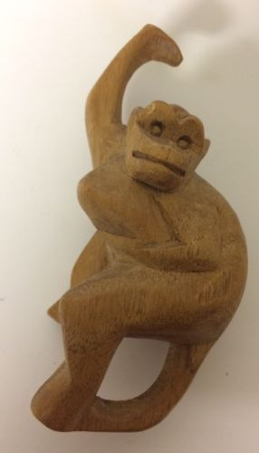 Carved Wood Wooden Vintage Hanging Monkey Figure Unique Jungle Animal
