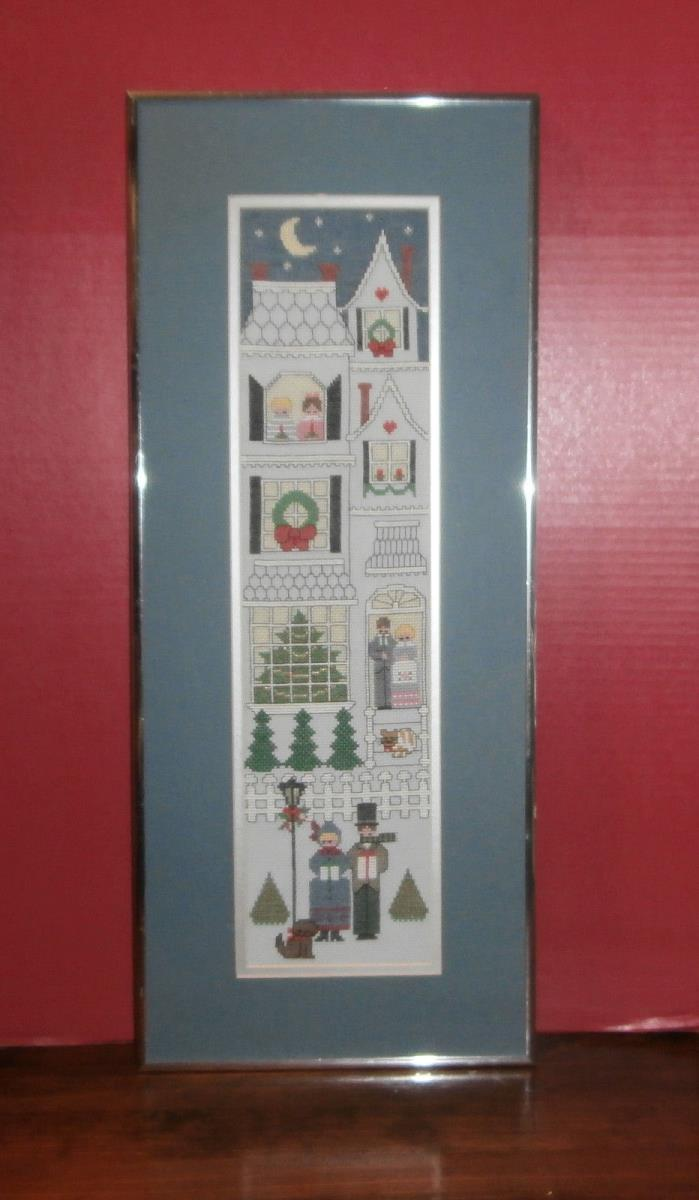 Christmas Townhouse Finished Cross Stitch Matted & Framed 10