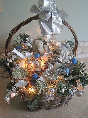 Decorative Light Up Holiday Basket  Birds Pinecones Blue Silver Decorations