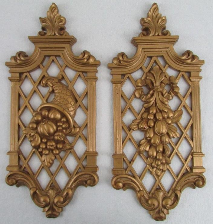 Vintage Syroco Gold Wall Plaques Hanging Fruit Vegetables Matching Set