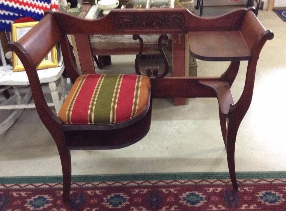 Antique Mahogany Gossip Telephone Bench Chair Lyre Style Back