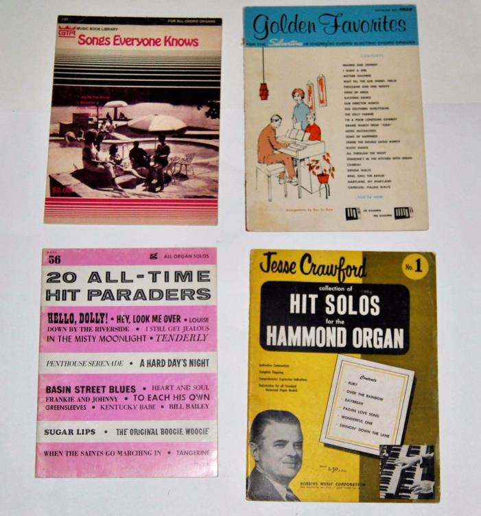 4 Vintage Books of Songs and Music for Chord Organs