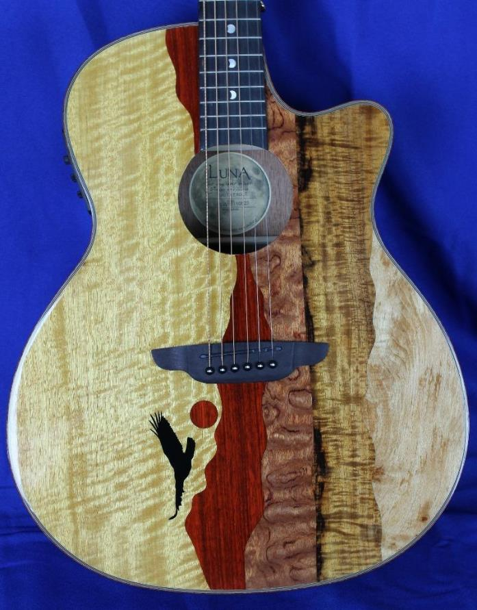 New! Luna Vista Eagle Tropical Woods Acoustic Electric Guitar w/ OHSC