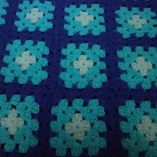Granny Square Afghan Navy Blue Teal Acrylic Handmade 50