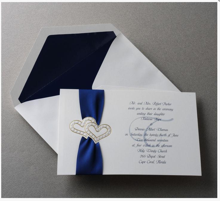 100 Double Foil Heart Wedding Invitations w/ Satin Ribbon, RSVP Set!