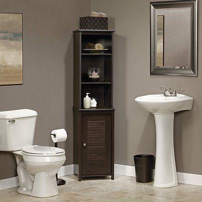 Linen Cabinet For Bathroom Corner Storage Ideas Tower Door Shelves Cherry NEW