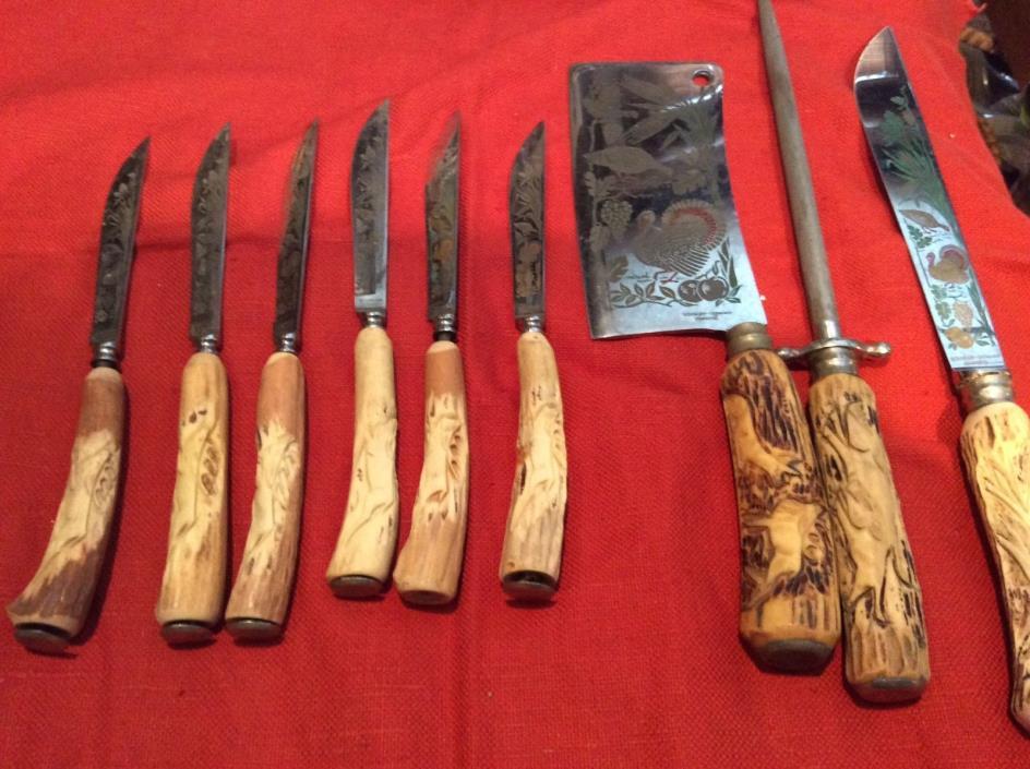 Vintage 9 Piece Soligen Germany Carving Set, stag handles, engraved turkeys, cle