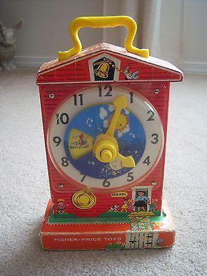 Vintage '60's Fisher Price Music Box Teaching Clock Music Plays~Clock Works