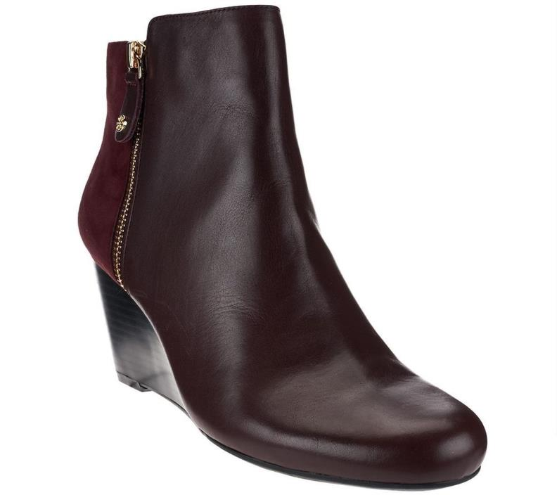 Isaac Mizrahi Rounded Toe Wedge Ankle Boots Side Zip Bordeaux 9W NEW A268199