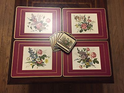 4 Pimpernel Cork Placemats & 6 coasters - Floral - roses