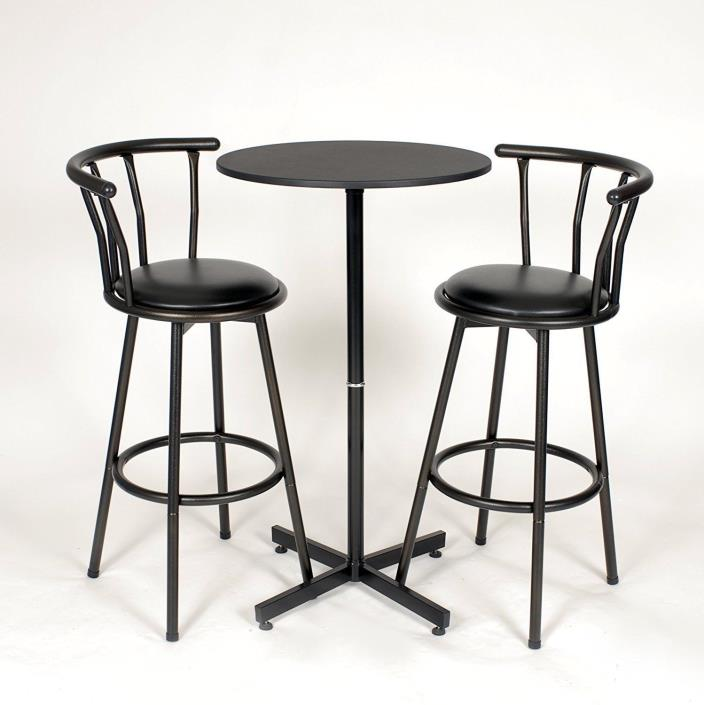 Bar Height Table And Chairs Set Round Pedestal Dining Pub With Stools Kitchen
