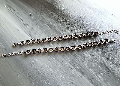 2 Empty Cup Chain Bracelet Setting Antique Silver for 39ss 8mm Chatons Crystals