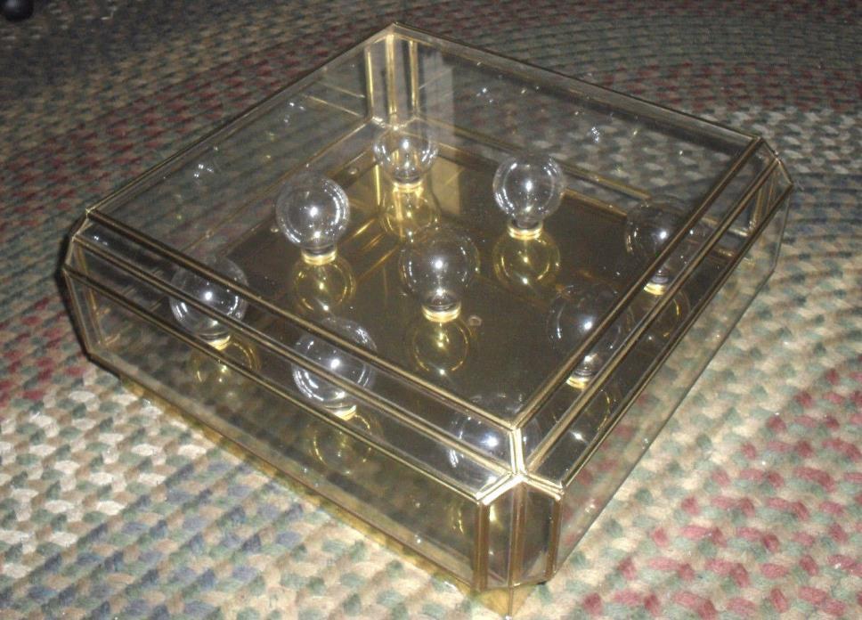 LIGHTOLIER Vtg Mid Century Modern Brass 9 Light Fixture