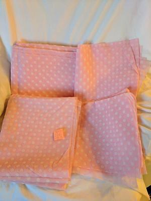 4 Vintage Fabrics Pink and White Material 2- 46' by 93