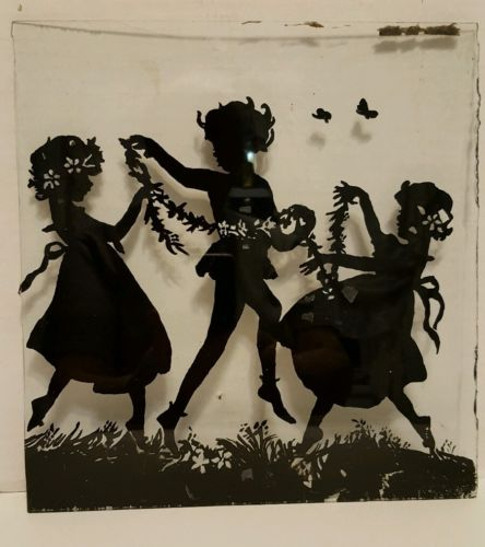 VINTAGE REVERSE SILHOUETTE GLASS ONLY of CHILDREN PLAYING 10