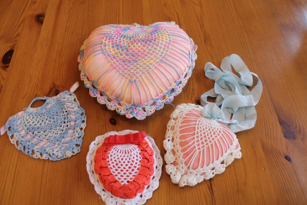 4 VINTAGE HAND CROCHETED HEART PILLOWS PIN CUSHIONS with RIBBON