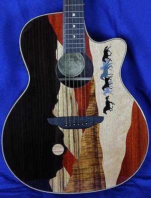 New! Luna Vista Mustang Tropical Woods Acoustic Electric Guitar w/ OHSC