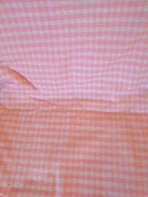 Pre owned Vintage Fabric Pink White Checked Plaid Material 68in x78in craft #tb3