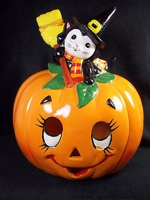 Vintage Lefton Jack-O-Lantern with Cat Halloween Candleholder Ceramic needs TLC