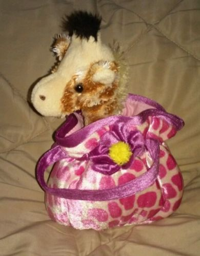 Aurora World Plush GIRAFFE w/pink PET CARRIER PURSE