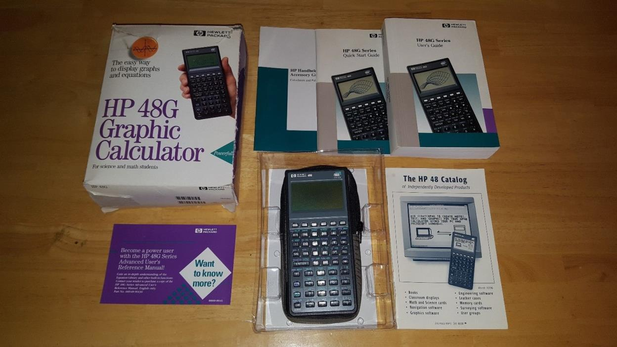 COMPLETE HP48G GRAPHING CALCULATOR FOR PARTS OR REPAIR MANUALS BOX CASE