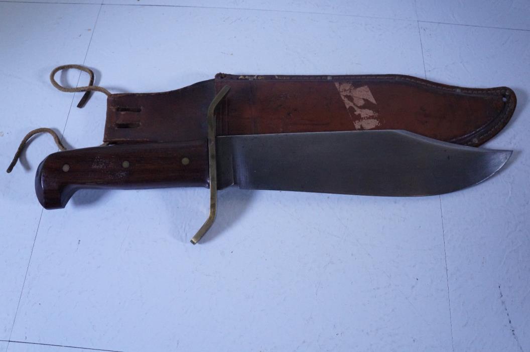 Vintage Western Boulder Colorado Large Fixed Blade Bowie Knife Wood Handle