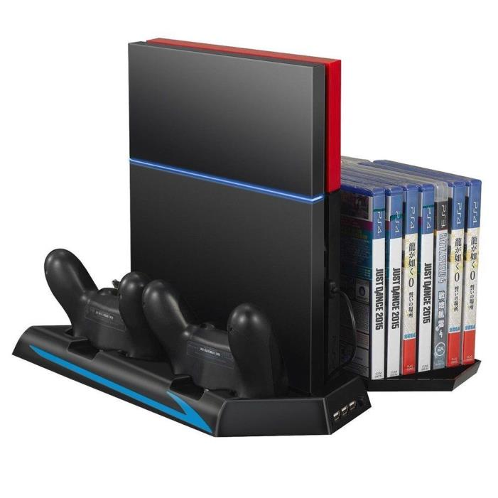 URPOWER - 3 in 1 Dual Dock Charging Station with Cooling Fan for PS4