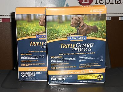 2 BOXES TRIPLE GUARD FOR DOGS LARGE DOGS 34-66 LBS 2 BOXES 4 APPLICATIONS EACH