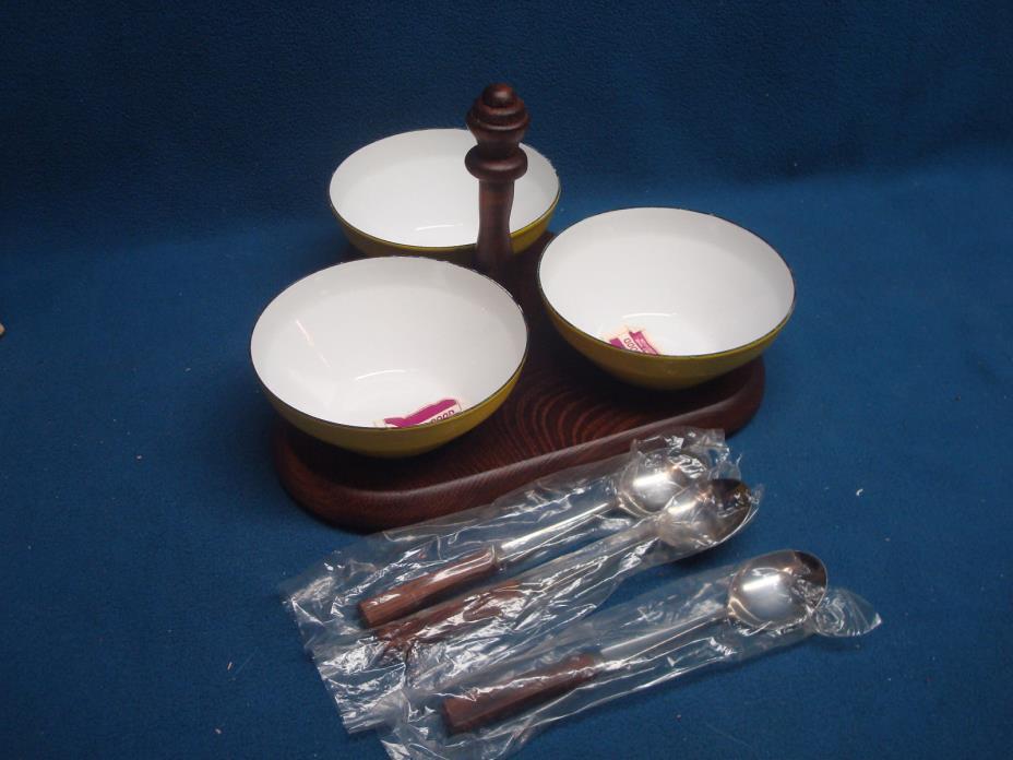 Vintage 7 pc Condiment Dip Relish Caddy Japan Metal Bowls Porcelain w spoons
