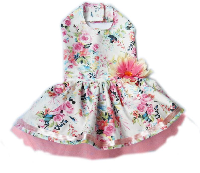 Flowers Pink Blue Cute Dog Dress Little Dog Clothes Small Dog Apparel Size XS