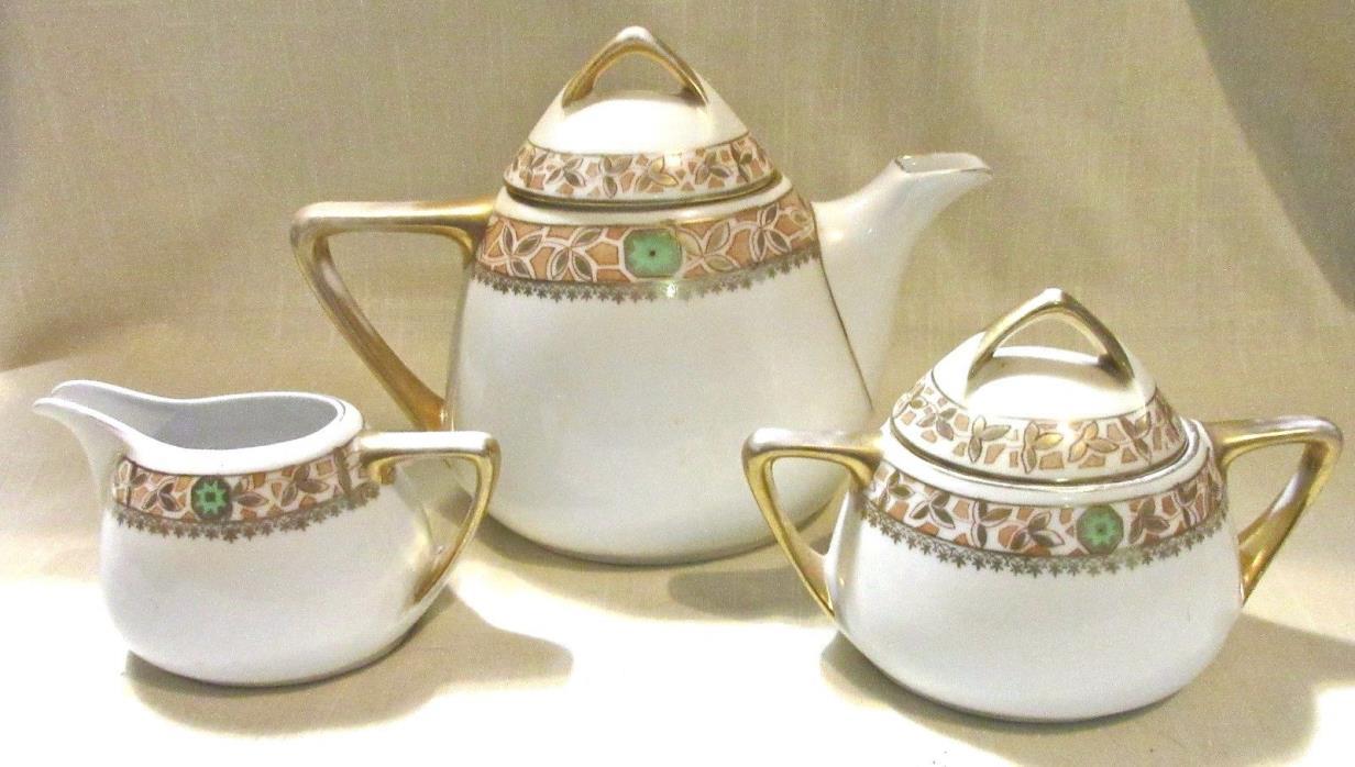 Antique Tea Set Royal Rudolstadt Prussia - Teapot, Creamer, Lidded Sugar