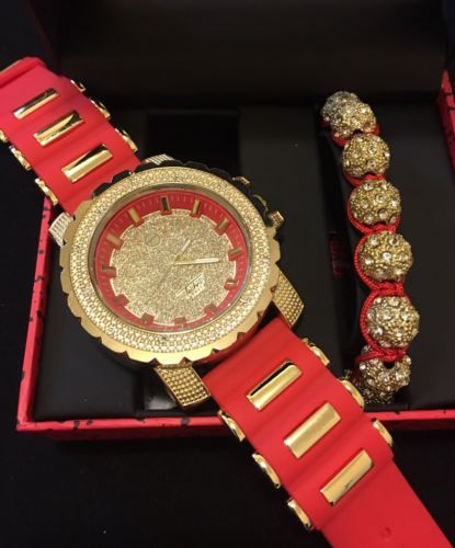 Men's 14K Gold Plated HipHop IcedOut Red Watch&Shamballa Bracelet
