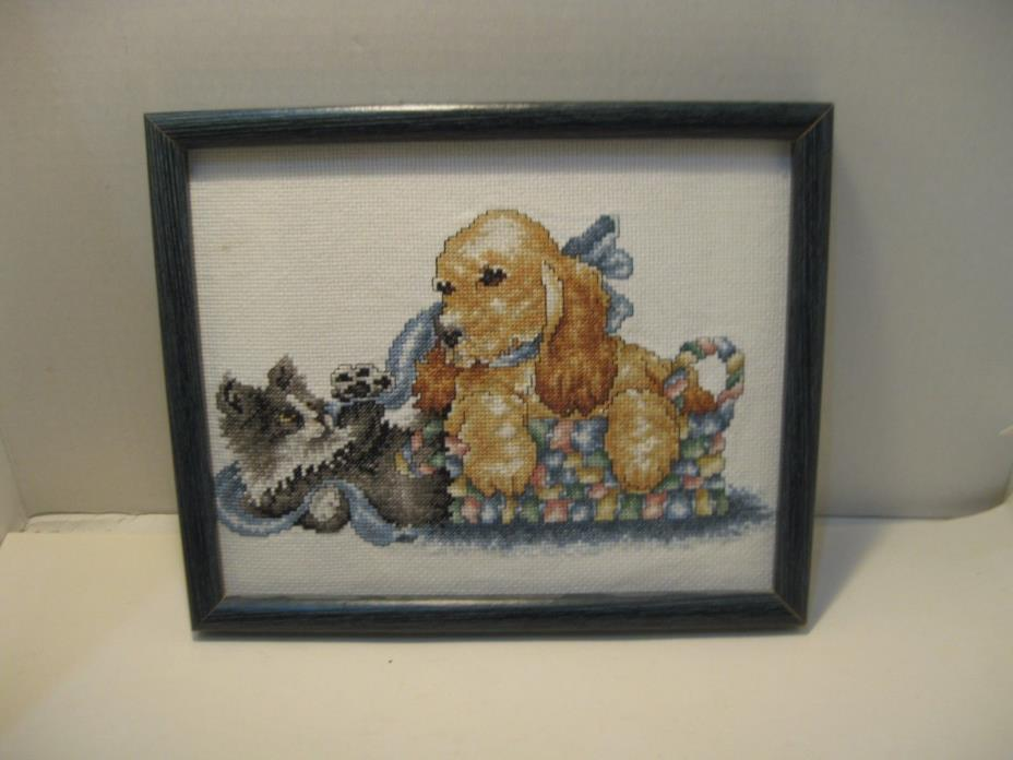 Finished Framed Cross Stitch Puppy & Kitten Picture 8 X 10