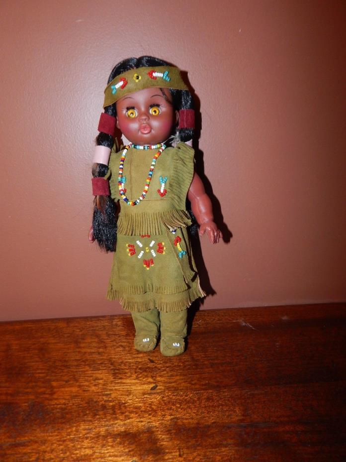 Native American Indian Doll.  Genuine Leather Clothing.  Excellent Condition.