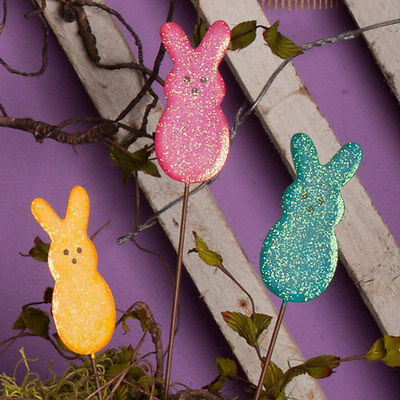 Round Top Collection Colorful Bunny Mini Stake Color: Blue