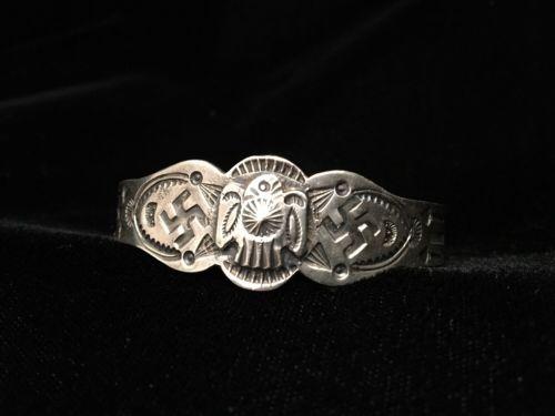 Fred Harvey Whirling Log Thunderbird Stamped Sterling Silver Bracelet Vintage