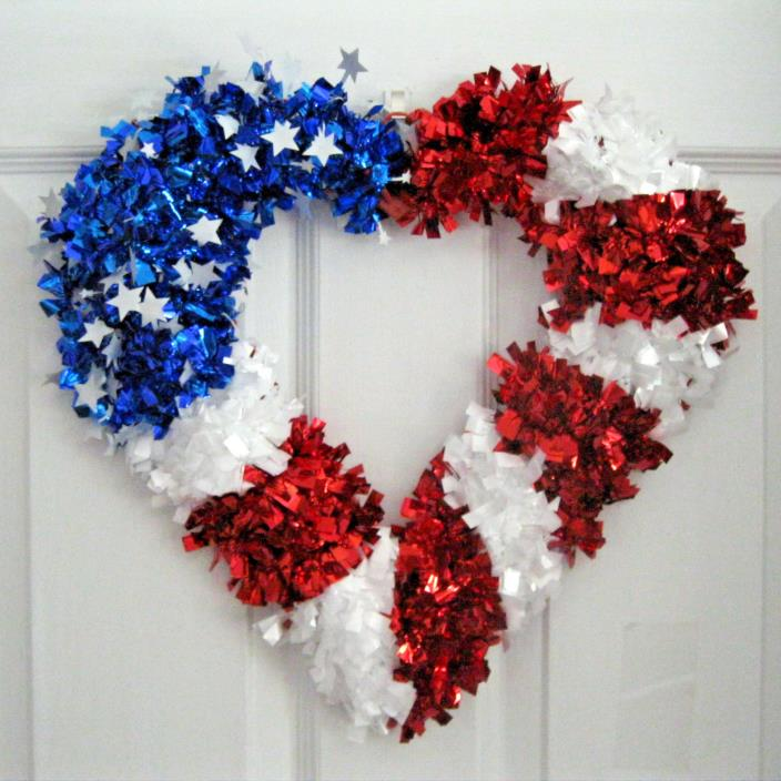HEART SHAPE RED WHITE & BLUE WREATH  NEW