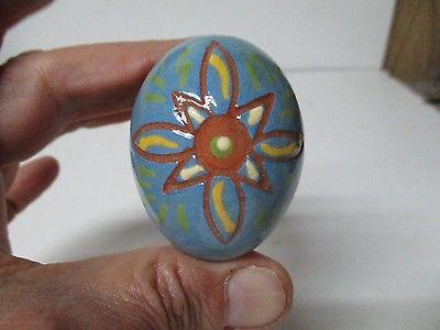 2010 Breininger Pottery Redware SLIP DECORATED EASTER EGG - BLUE FLOWER