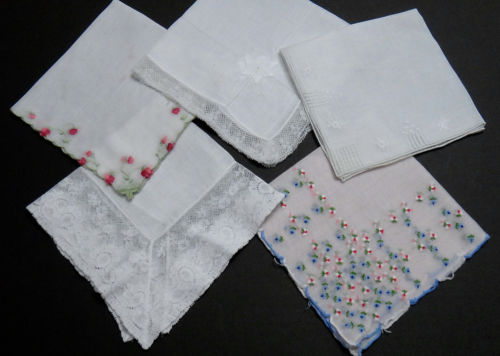 Lot Vintage Linen Lace Embroidery Hankies (5) Wedding White & Colored Embroidery