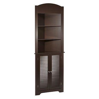 Linen Cabinet For bathroom Corner Espresso Storage Ideas Tower Door Shelves NEW