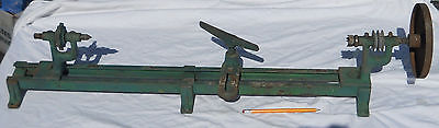 "Vintage/Antique Table Top Wood Lathe Double Pulley 22.5"" Useable Bed Length"
