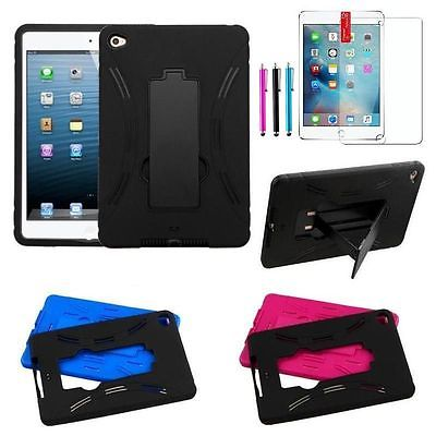 Heavy Duty Hybrid Shockproof Case Cover Stand for Apple iPad Mini 4+Film+Stylus