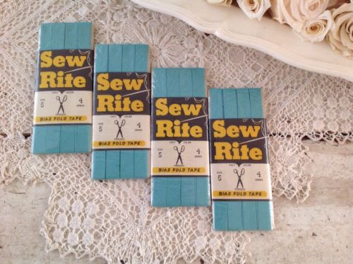 Vintage Bias Fold Tape Sew Rite Turquoise