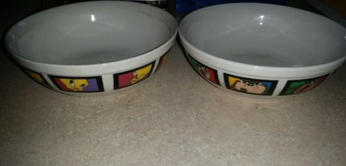 Looney Tunes Tweety & Taz Ceramic Bowls ~ Good Used Condition
