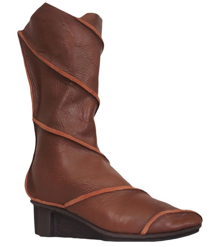 TRIPPEN WIND Womens Boots Mid Calf Leather Brown Size 39 US 8