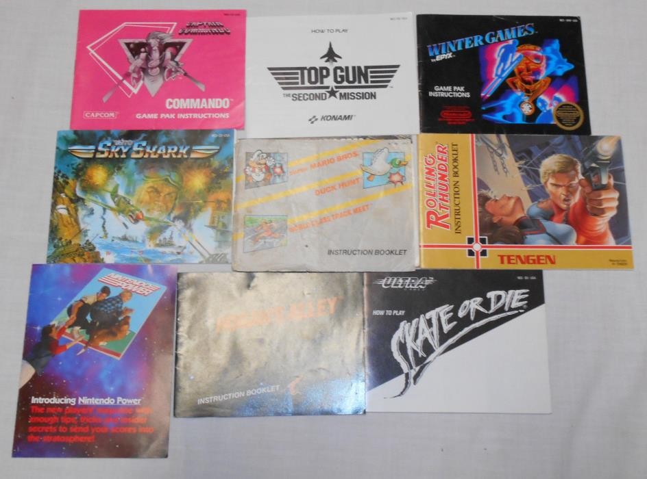 Lot of 8 Nintendo NES Game Instruction Manuals Books & Nintendo Power Postcard