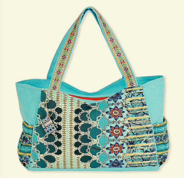 MOTHERS DAY SUN N SAND MEDIUM MED SCOOP CANVAS TOTE BEACH CRUISE RESORT BAG BLUE