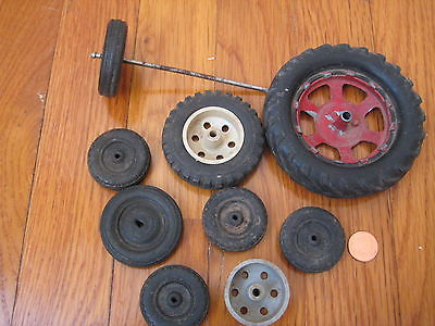 vtg TOY WHEEL TIRE LOT car slot rc truck old Marx Hubley Kiddie diecast tractor